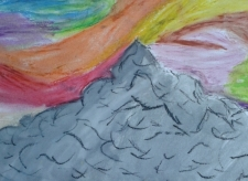 oil pastel and watercolour by Abby S. grade 6
