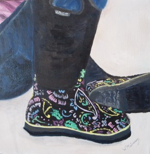 """Pamela's Boots"", oil on canvas, 12""x12"""