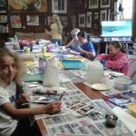 Busy working on artwork in the studio at Art Camp!