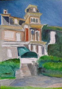 "This is the beginning of the painting I am working on of ""Roselawn"" for ""Doors Open"" in Port Colborne"
