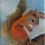 """Little Squirrel"" (in progress) oil on canvas, 4""x4"""