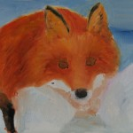 """Snow Fox"" (beginning), oil on baltic birch, 8""x10"""