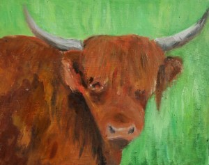 Highland cow painting, almost done