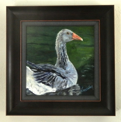 grey goose in water  framed