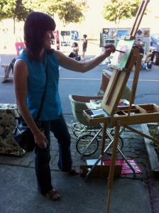 Wendy painting at Art Crawl 2014