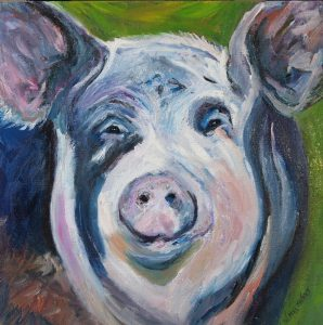 """Happy Pig"", oil on canvas, 12""x12"""
