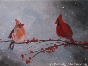 cardinal-male-female-painting-malowany