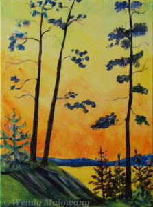 pine-trees-sunset-painting-malowany